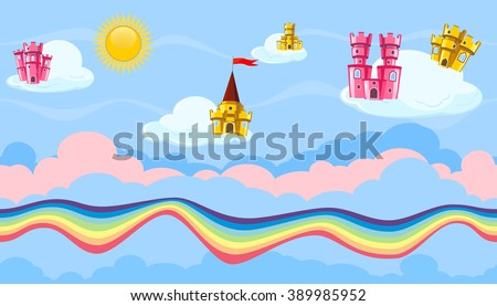 Seamless editable horizontal heavenly background with colorful castles and rainbow road for video game - stock vector