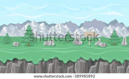 Seamless editable mountainous horizontal background with stones and fir trees for video game
