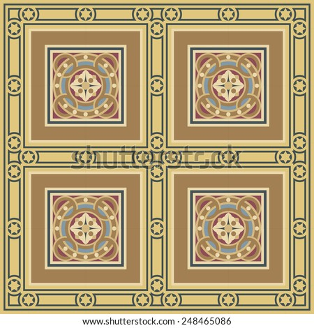 Seamless editable vector vintage mosaic tile ornamental with frame pattern in ocher, brown, black, red, blue colors. The main element is a flower in circles. - stock vector