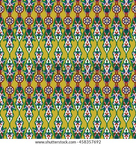 Seamless elegant Ornamental pattern. Ceramic tiles. Orient traditional ornament. Oriental and ethnic art theme. Decorative elements