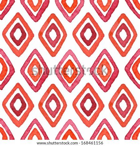 Seamless elegant watercolor geometric pattern. Vector illustration - stock vector