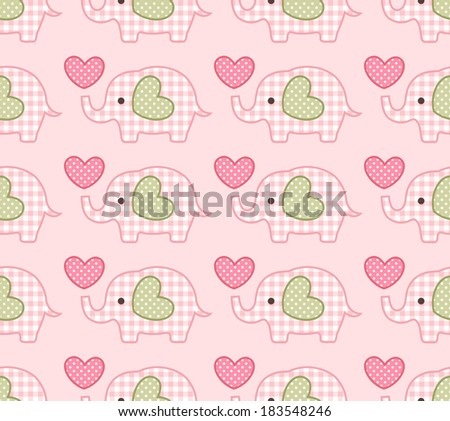 seamless elephant cartoon pattern - stock vector