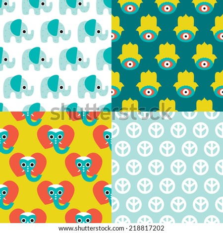 Seamless elephant patchwork hamsa and peace sign illustration background pattern in vector - stock vector