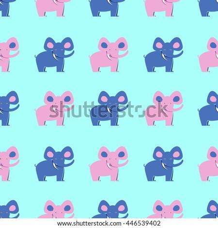 Seamless elephant pattern. Elephants on blue background, textile, wallpaper - stock vector