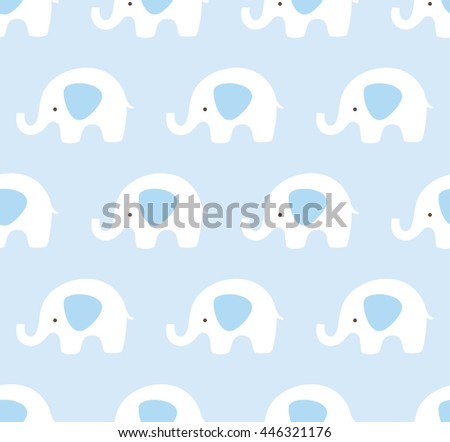 Seamless elephants pattern. Cute animal texture background. Blue and white pattern.  - stock vector