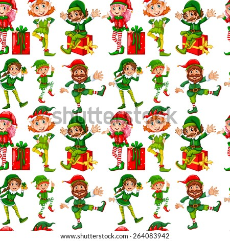 Seamless elves and christmas presents - stock vector