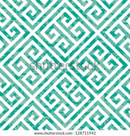 Seamless Emerald Greek Key Background Pattern - stock vector