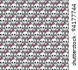 Seamless emo skulls pattern - stock vector