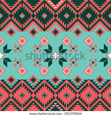 Seamless ethnic geometric pattern. Folklore rug pattern in bright colors.
