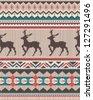 seamless ethnic knitting with seamless Elegant Christmas deer - stock vector