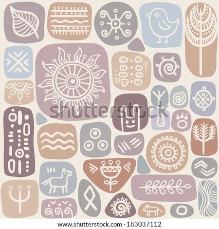 seamless ethnic ornament in cold tones - stock vector
