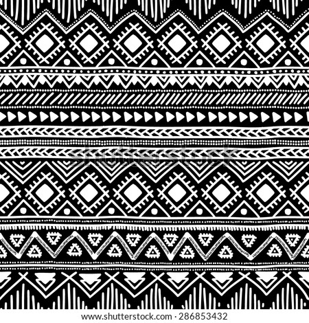 Seamless ethnic pattern. Black and white vector illustration. Drawing by hand. - stock vector
