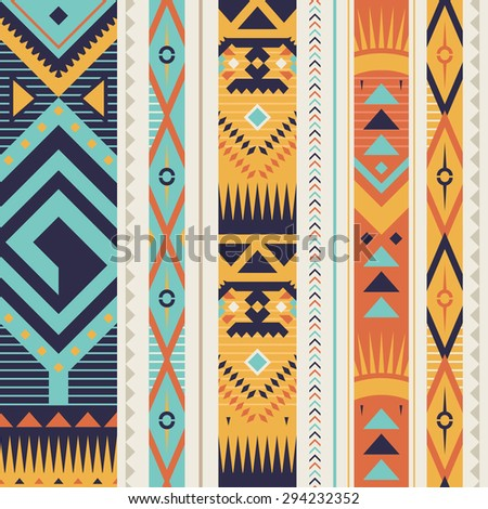 Seamless Ethnic Pattern for Textile Design. Stylish Tribal Background. Bright Vector Tribal Texture with Triangles, Rhombuses and Lines in Vertical Stripes. - stock vector