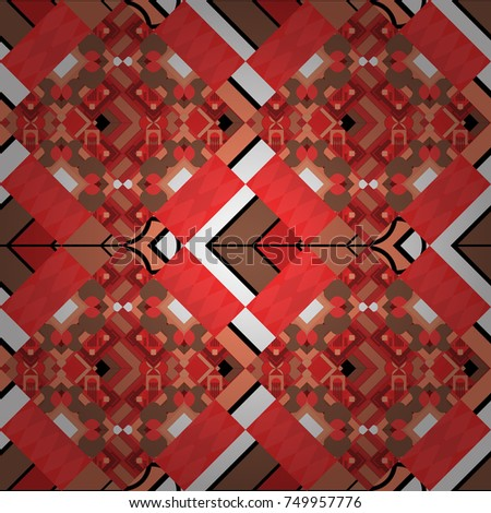 Seamless ethnic patterns for border in red, orange and brown colors. Vector repeated oriental motif for fabric or paper design.