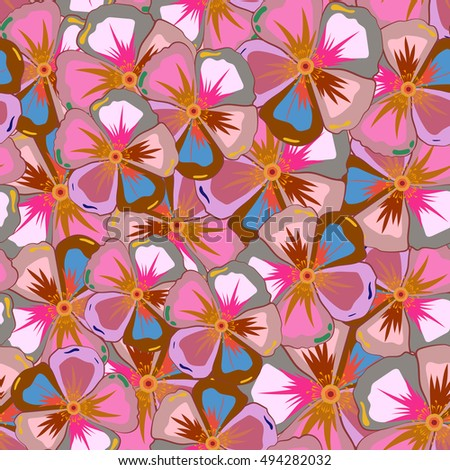 Seamless exotic pattern with many varicolored tropical flowers. Blooming jungle. Motley vector illustration.