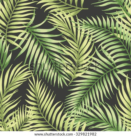 Seamless exotic pattern with tropical leaves . Vector illustration. - stock vector