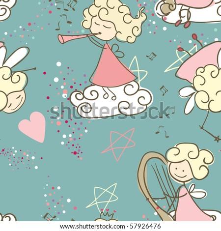 seamless fairy pattern - stock vector
