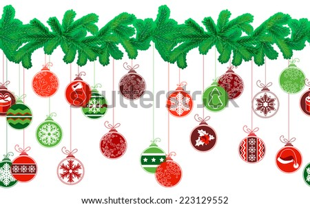 Seamless festive Christmas garland with fir and different glass balls - stock vector