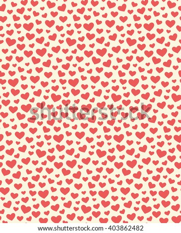 Seamless Festive Love Abstract Pattern with Hearts on White Background - stock vector