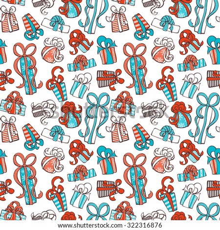 Seamless festive pattern. Doodle gifts on white background. Seamless texture can be used for web page backgrounds, wallpapers, wrapping papers, invitation, congratulations and festive designs.  - stock vector