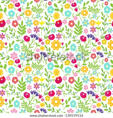 Seamless field with multicolored flowers - stock vector