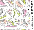 seamless figure ice skate vintage background pattern in vector - stock vector
