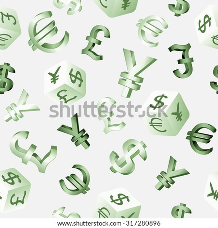 Seamless finance background with currency symbols dollar, euro, pound, yen,yuan. Vector illustration.