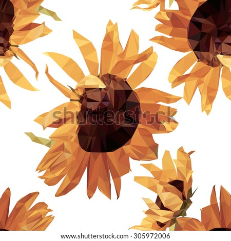 seamless floor tiles with sunflowers Low poly concept.seamless Sunflower on white background.seamless - stock vector