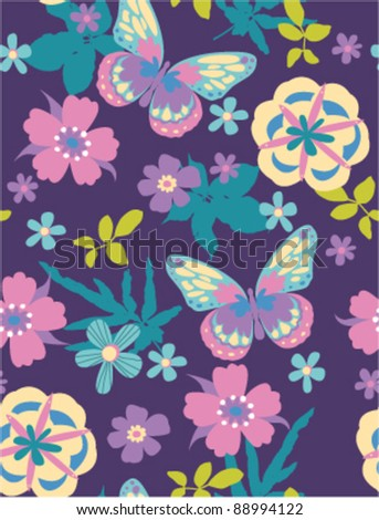 seamless flora with butterfly on purple background