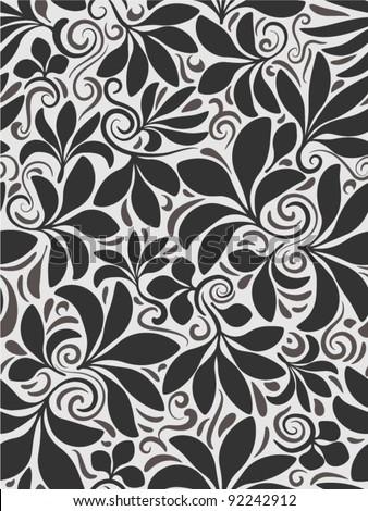 Seamless floral background black en white - stock vector