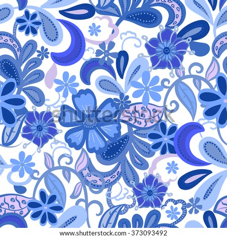 Seamless Floral background. Blue isolated flowers and leafs on white background. Vector illustration.