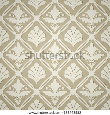Seamless floral background in beige colors - stock vector