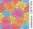 Seamless floral background, pattern of colorful narcissus flowers. Vector - stock vector
