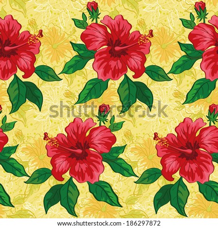 Seamless floral background, pattern of hibiscus flowers, leaves and contours. Vector - stock vector