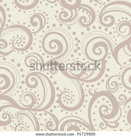 seamless floral background  pattern with waves and curl - stock vector