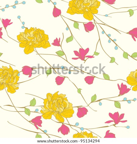 Seamless floral background.  Peony pattern - stock vector