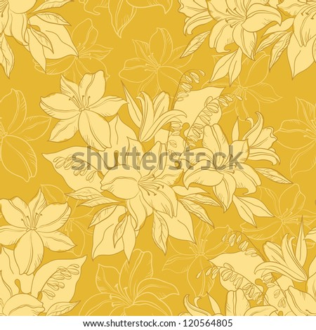 Seamless floral background, silhouette and contours lily flowers. Vector