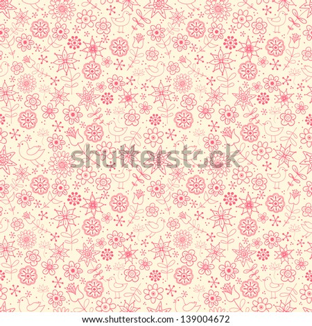 Seamless floral background. Texture with summer flowers. Can be used for wallpaper, pattern fills, textile, web page background, surface textures.