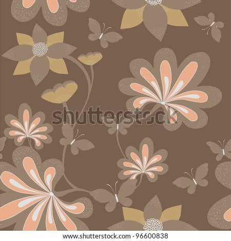 Seamless floral background . Vector - stock vector