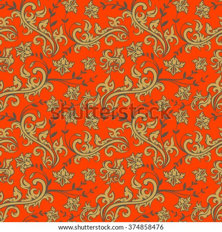 Seamless floral background,vector floral illustration in russian style   - stock vector