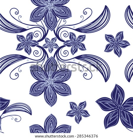 Seamless floral background. Vector  flowers. Seamless vector pattern. Floral ornament seamless pattern - stock vector