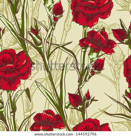 Seamless floral background with flower carnation - stock vector