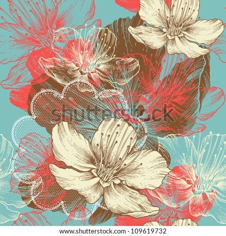 Seamless floral background with flowers apple, hand drawing, vector. - stock vector
