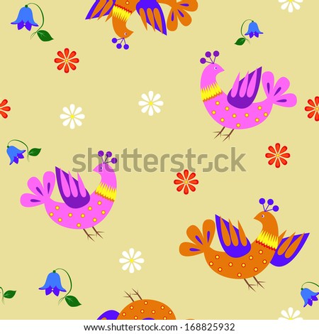 Seamless floral background with flowers, birds.