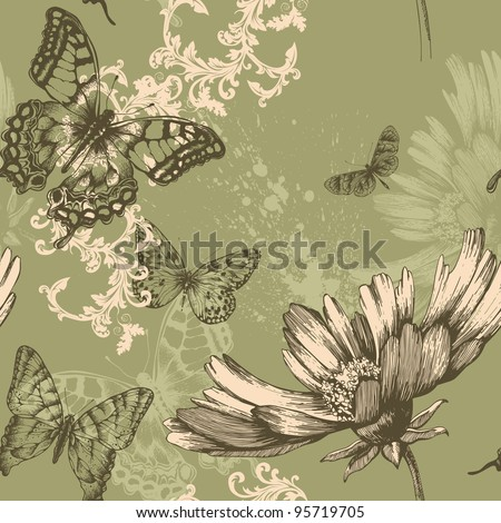 Seamless floral background with flying butterflies, hand-drawing. Vector. - stock vector