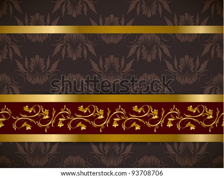Seamless floral background with golden frieze. Part of pattern set. Vector wallpaper. - stock vector