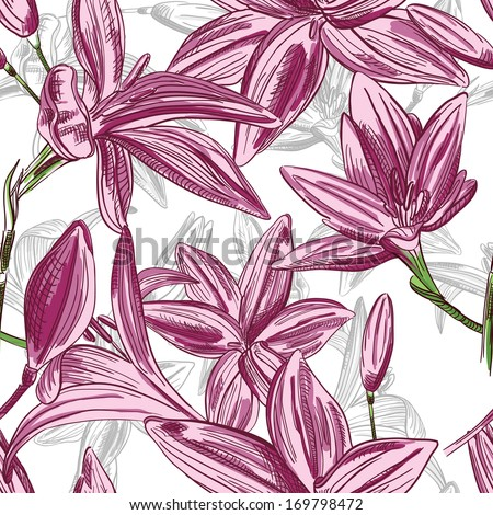 Seamless floral background with hand drawn flowers. Abstract vintage background with floral retro element. Vector illustration EPS10. - stock vector