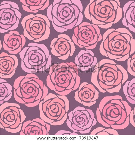 seamless floral background with pink roses - stock vector