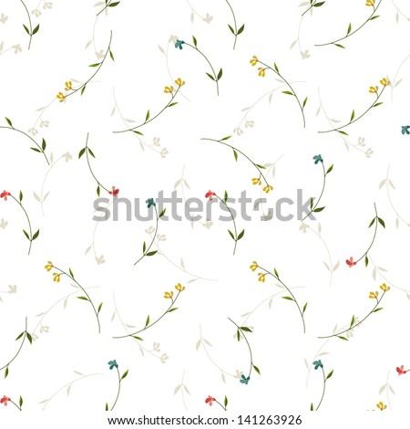 Seamless floral background with small flowers - stock vector
