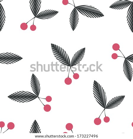 Seamless floral berry cherry pattern on white background - stock vector